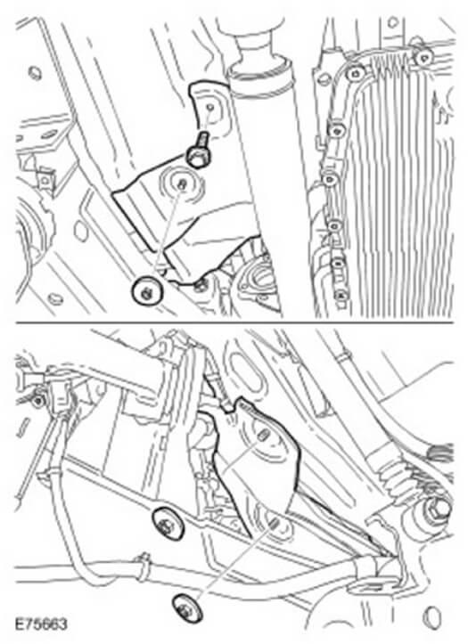 Демонтируйте передний тепловую защиту глушителя