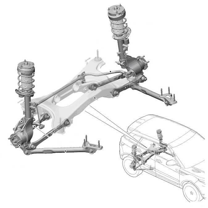 Задняя подвеска переднеприводного range rover evoque