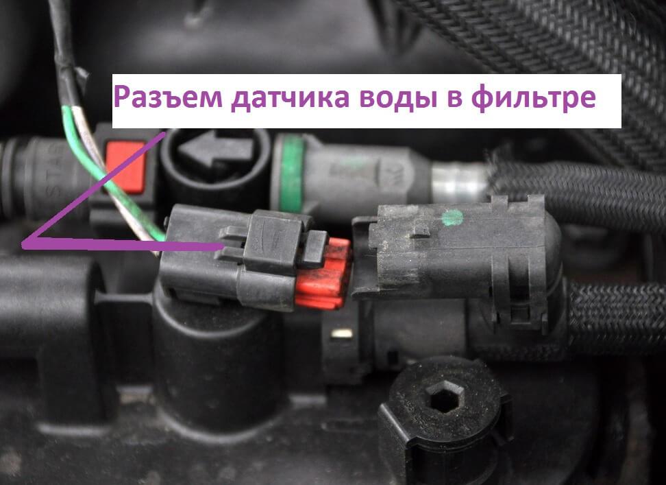 Разъём датчика воды в фильтре